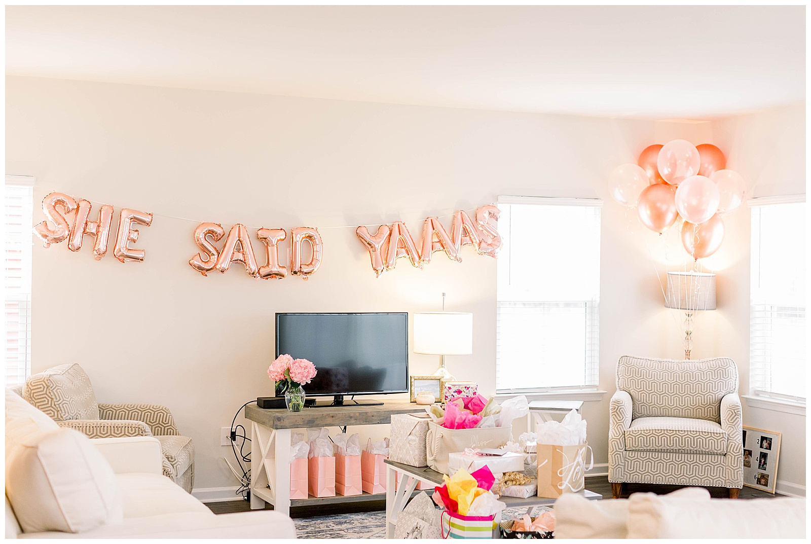 bridal shower, balloon, rose gold, bridal inspiration, virginia bride